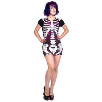 dress women (tunic) BANNED - Sequins Skeleton - Black