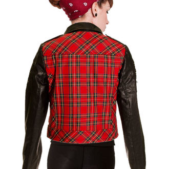 spring/fall jacket women's - Red Tartan Faux Leather - BANNED, BANNED