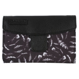 Wallet MEATFLY - Mia Ladies - Black, Feather Print, MEATFLY