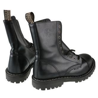leather boots men's - 10 dírkové černé ( 105/106 Black) - STEEL, STEEL