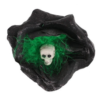 Hair clip Skull - Black / Green Feathers