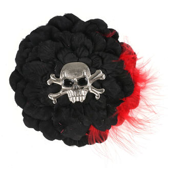 Hair Clip Skull - Black/ Red Feathers