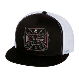 cap BLACK HEART - HOT ROD FLAMES - WHITE - 022-0047-WHT