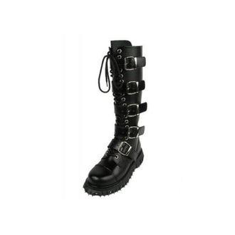 leather boots women's - 5-buckles leder - BONDAGE LONDON - ČERNÉ, BONDAGE LONDON