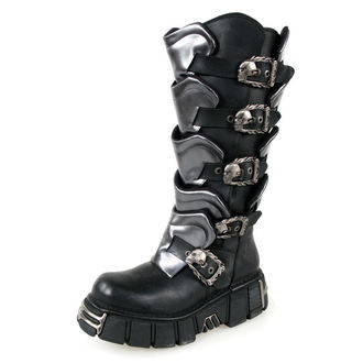 boots leather - Gladiator Boots (738-S1) Black-Grey - NEW ROCK, NEW ROCK