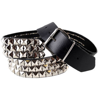 belt leather Pyramids 3, BLACK & METAL