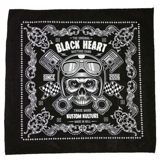Kerchief BLACK HEART - PISTON SKULL - BLACK, BLACK HEART