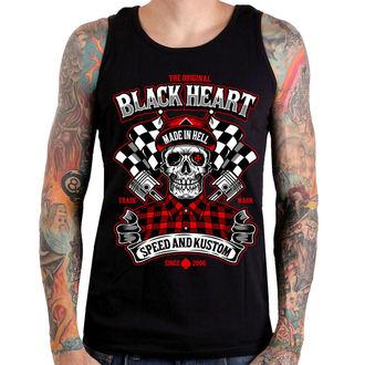 Top Men's BLACK HEART - SPEED AND KUSTOM SKULL - BLACK, BLACK HEART