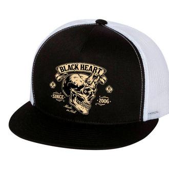 cap BLACK HEART - DEVIL SKULL - WHITE, BLACK HEART