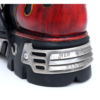 boots leather - Vampire Boots (107-S1) Black-Orange - NEW ROCK - M.107-S1