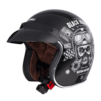 Helmet BLACK HEART - PISTON SKULL - BLACK, BLACK HEART