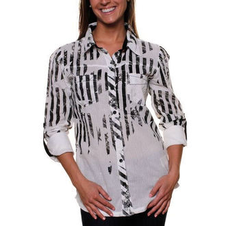 shirt women's FOX - Stripe Out - WHITE