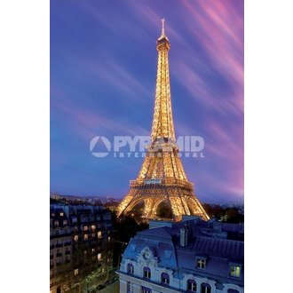poster Eiffel Tower At Dusk - Pyramid Posters, PYRAMID POSTERS