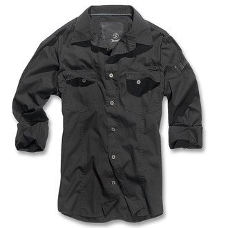 shirt men BRANDIT - Men Shirt Slim - Black - 4005/2