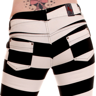 pants women 3RDAND56th - Jail Stripe Skinny - Black / white - JM1162