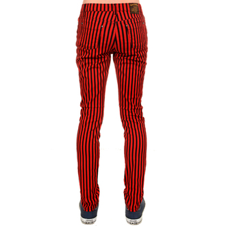 pants (unisex) 3RDAND56th - Striped Skinny Jeans - Black / Red - JM1176