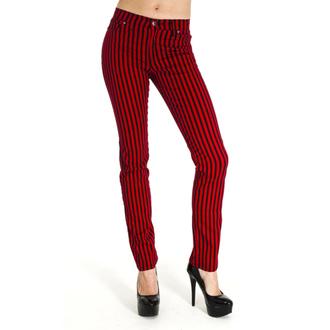 pants (unisex) 3RDAND56th - Striped Skinny Jeans - Black / Red - JM1176
