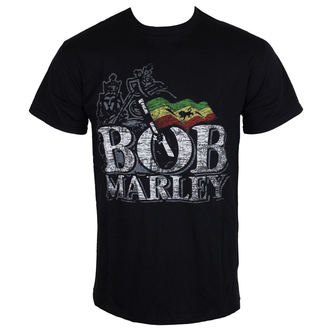 t-shirt metal men's Bob Marley - Distressed Logo - ROCK OFF - BMATS01