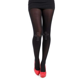 tights PAMELA MANN - 80 Denier Tights With Cross On Knee-Black - 013