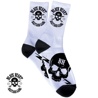 socks BLACK HEART - Skull - White