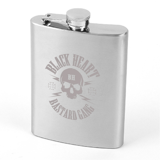 hip flask BLACK HEART - Skull, BLACK HEART