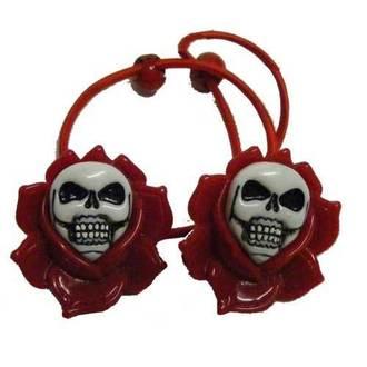 hair rubber band KREEPSVILLE SIX SIX SIX - Skull Rose - Red, KREEPSVILLE SIX SIX SIX