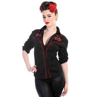 shirt women's with long sleeve BANNED - Cherry Skulls - Black - WBN1504BL