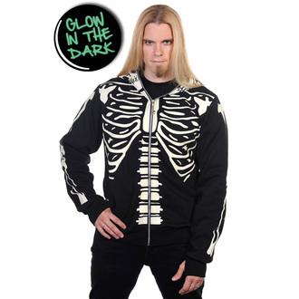 hoodie men's - Black Glow In The Dark Skeleton - BANNED -