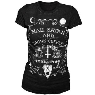 t-shirt women's unisex - Hail Satan & Drink Coffee - BLACK CRAFT - WT001HE