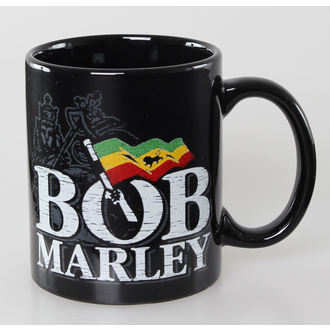 cup Bob Marley - Distressed Logo - Black - ROCK OFF, ROCK OFF, Bob Marley