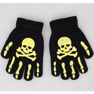 gloves Skull - Black / Yellow