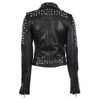 leather jacket women's - Studded - KILLSTAR, KILLSTAR