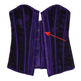 corset women's HEARTS AND ROSES - Black Purple - DAMAGED, HEARTS AND ROSES