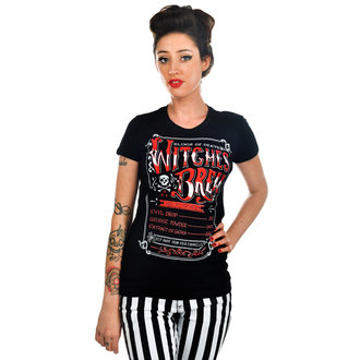 t-shirt gothic and punk women's - Witches Brew - TOO FAST - Black