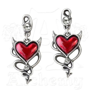 earrings ALCHEMY GOTHIC - Devil Heart Studs - ULFE22