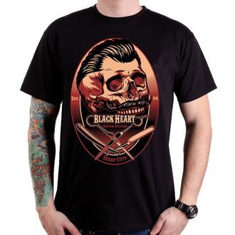 t-shirt street men's - Barber Skull - BLACK HEART - 001-0032-BLK
