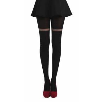 tights PAMELA MANN - Opaque Tights With Sheer Stripe - Black, PAMELA MANN
