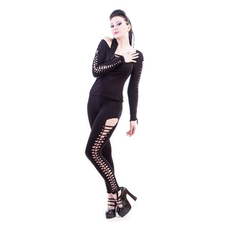 pants women (leggings) NECESSARY EVIL - Terra Slashed - Black, NECESSARY EVIL