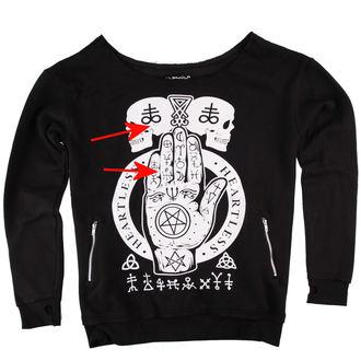 hoodie women's HEARTLESS - Omen Hand Jumper - Black - DAMAGED, HEARTLESS