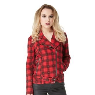 spring/fall jacket women's - Blk/Red Plaid Skulls - JAWBREAKER - JKA3855