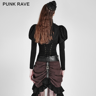 shirt women's PUNK RAVE - Queen of hearts - Black, PUNK RAVE