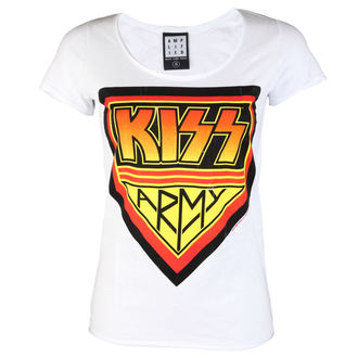 t-shirt metal women's Kiss - DISTRESSED ARMY WHITE - AMPLIFIED, AMPLIFIED, Kiss