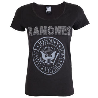 t-shirt metal women's Ramones - LOGO SILVER DIAMANTE - AMPLIFIED, AMPLIFIED, Ramones