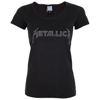 t-shirt metal women's Metallica - SILVER LOGO DIAMANTE - AMPLIFIED, AMPLIFIED, Metallica