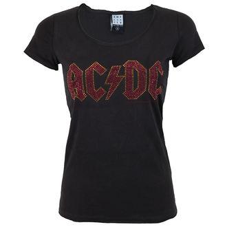 t-shirt metal women's AC-DC - LOGO CHARCOAL RED - AMPLIFIED
