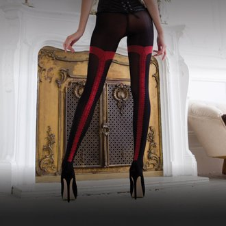 tights LEGWEAR - charley opaque - black with red seam, LEGWEAR