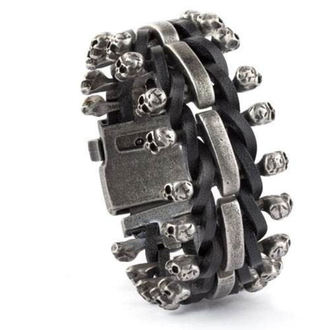bracelet ETNOX - Skulls on Leather - SA515