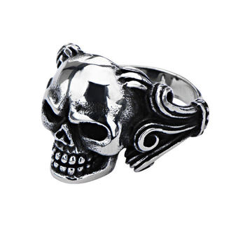 ring INOX - SKULL W/WIRE SIDE, INOX