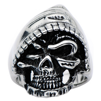 ring INOX - BLACK SKULL WITH A HOODY, INOX