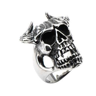 ring INOX - SKULL W/BULL HORNS, INOX